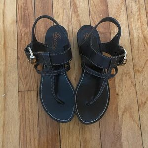 Gucci black sandals with white sticking and bamboo buckle